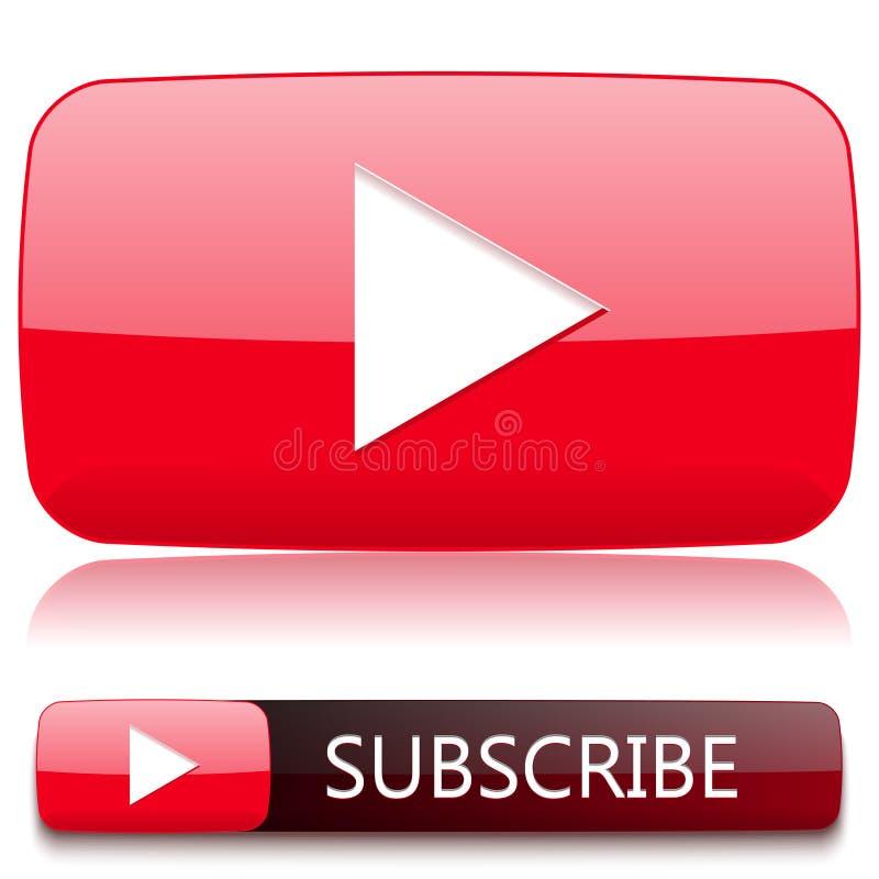 Tasto di riproduzione affinchè il riproduttore video e un bottone sottoscrivano illustrazione vettoriale