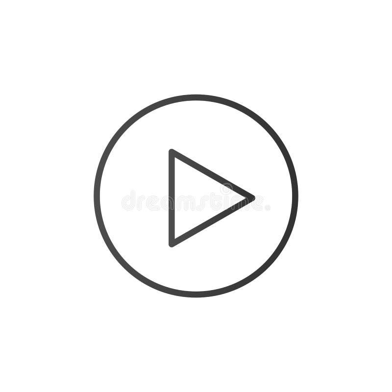 Tasto di riproduzione, linea icona Segno di media del profilo di vettore Progettazione piana d'avanguardia del segno di ui del pr illustrazione vettoriale