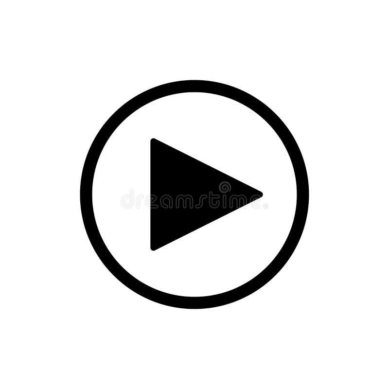 Tasto di riproduzione vector l'icona nello stile lineare isolata su bianco Audio o video icona