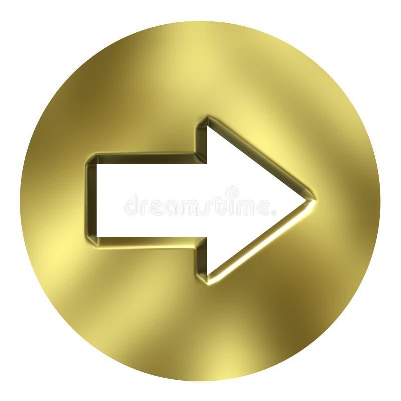 tasto dorato della freccia 3D illustrazione di stock