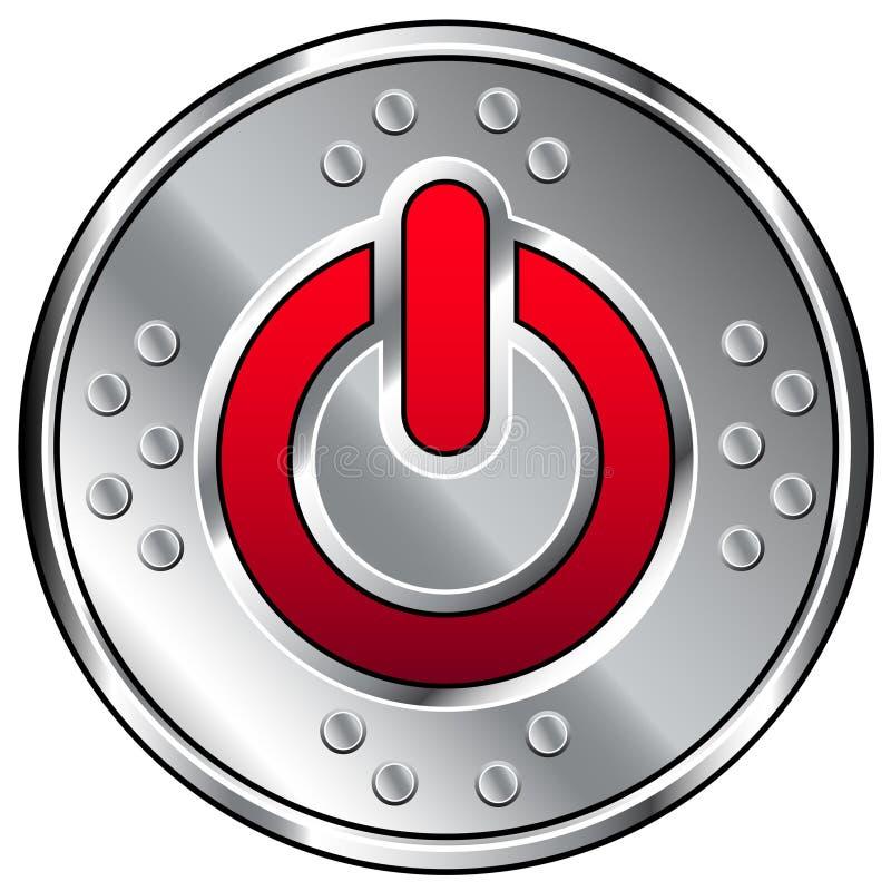 Tasto industriale lucido di vettore con l'icona di potenza illustrazione vettoriale
