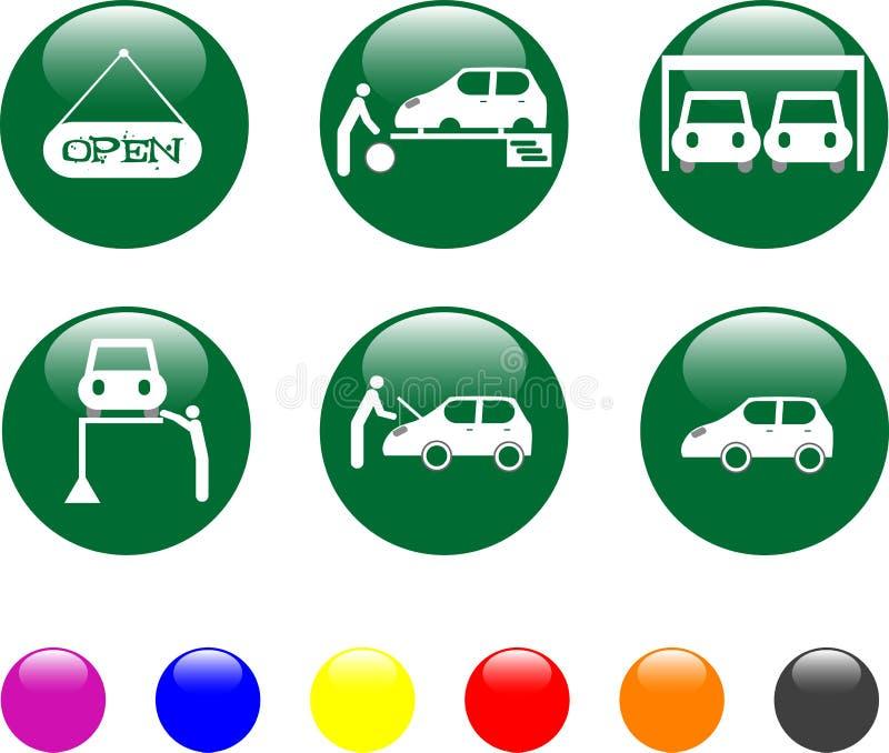 Tasto lucido dell'icona di verde di servizio dell'automobile royalty illustrazione gratis