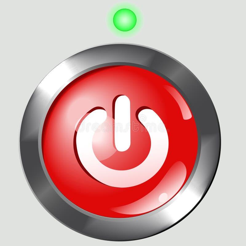 Tasto rosso di potenza su priorità bassa illustrazione vettoriale
