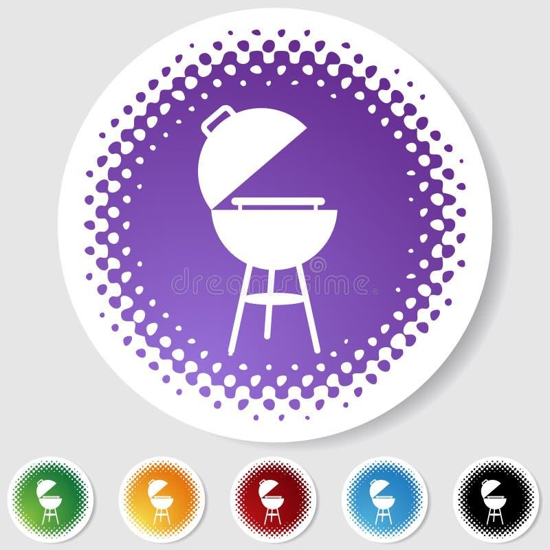 Tasto rotondo del semitono impostato - BBQ illustrazione vettoriale