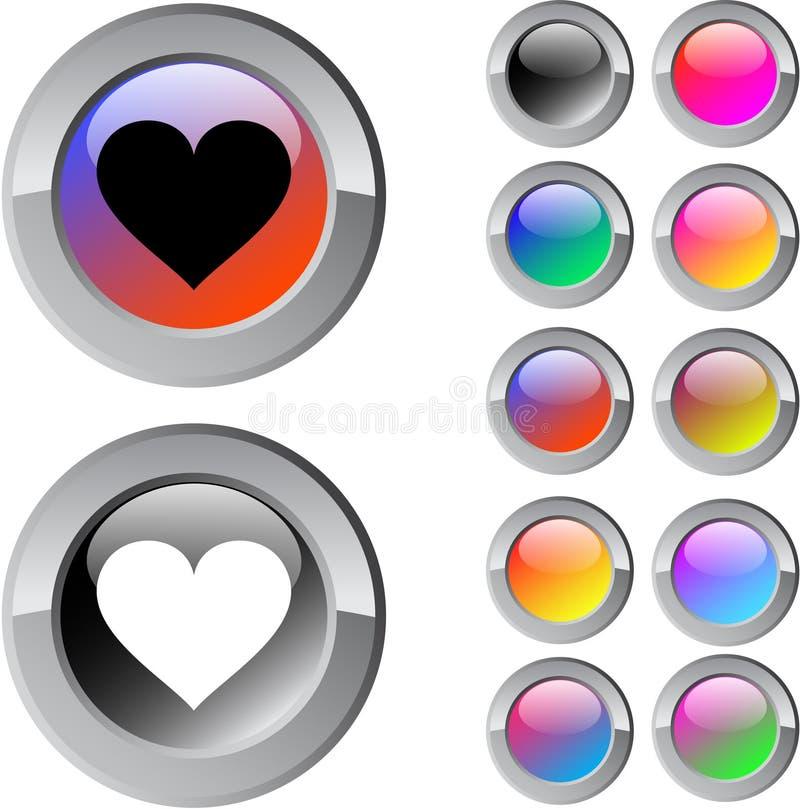 Tasto rotondo multicolore del cuore. illustrazione vettoriale
