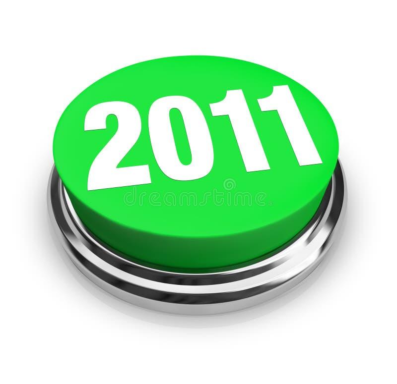 Tasto verde rotondo - 2011 nuovo anno illustrazione vettoriale