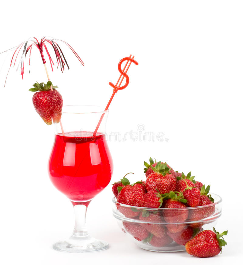 Tasty Alcohol Cocktail With Strawberry Stock Images