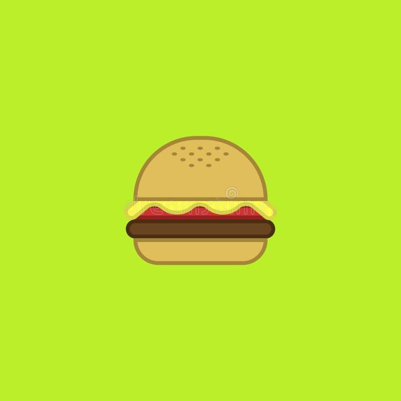 Tasty green american cheese burger vector illustration vector illustration