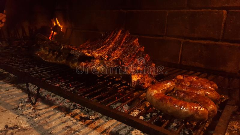 Tasty argentinian meat. Carbon, asado, baked, barbacue royalty free stock images