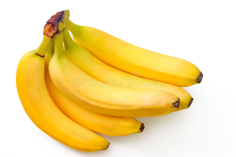 Tasty bananas isolated on the white royalty free stock images