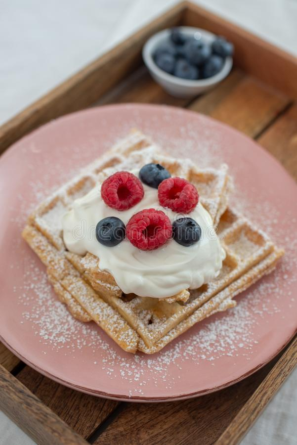 Tasty Belgian waffles with clotted cream and berries on plate stock photo