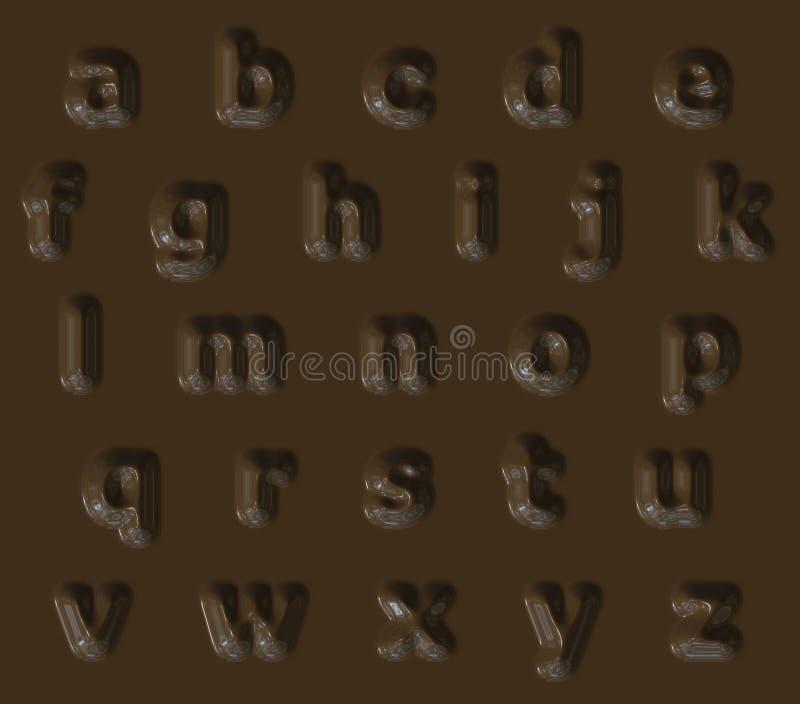 Tasty bumped chocolate alphabet stock image
