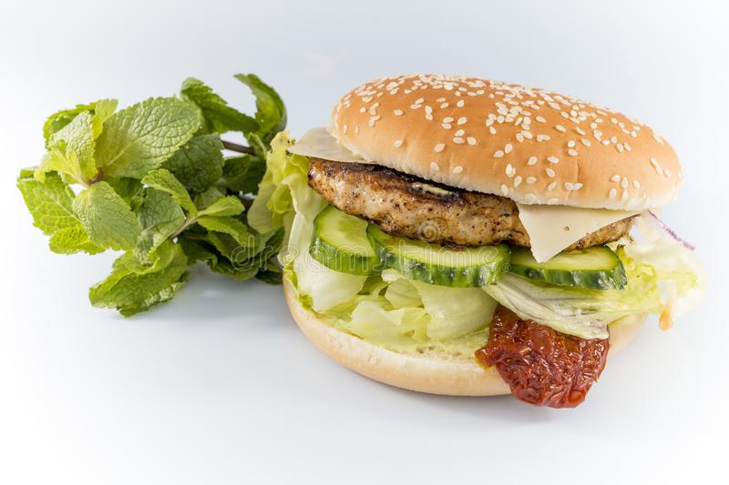 Tasty burger with cheese and mint lettuce royalty free stock images