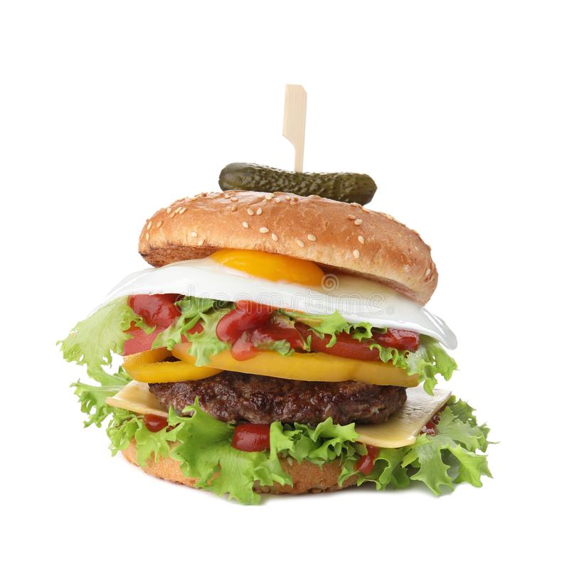 Tasty burger with fried egg. On white background stock photography
