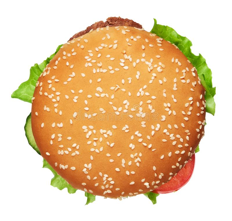 Tasty burger isolated. Clipping path included. Top view. Tasty burger isolated on white background. Clipping path included. Top view stock photo