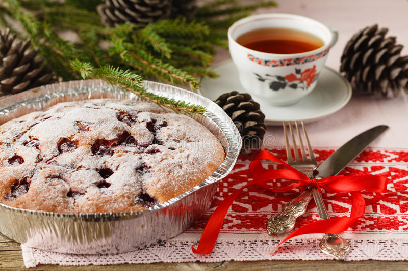 Tasty cake with berries on table close-up stock photos