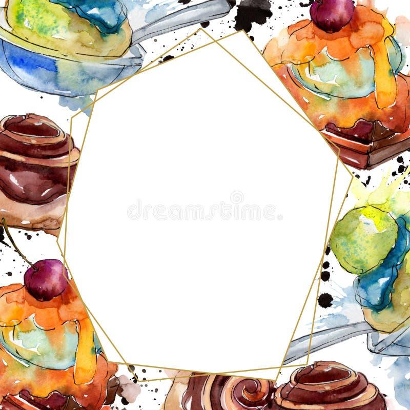 Tasty cake and bun sweet dessert. Watercolor background illustration set. Frame border ornament square. Tasty cake and bun sweet dessert. Watercolor background stock illustration
