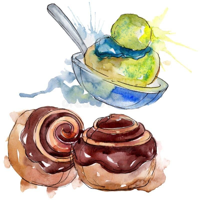 Tasty cake and bun sweet dessert. Watercolor background illustration set. Isolated desserts illustration element. Tasty cake and bun sweet dessert. Watercolor stock illustration