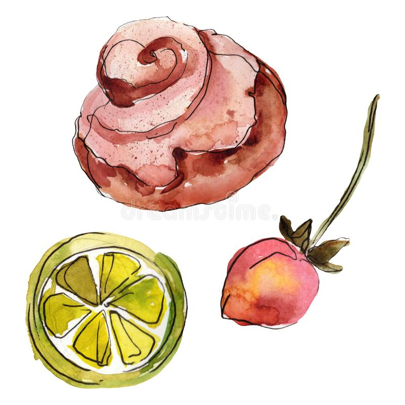 Tasty cake and bun sweet dessert. Watercolor background illustration set. Isolated desserts illustration element. Tasty cake and bun sweet dessert. Watercolor royalty free illustration