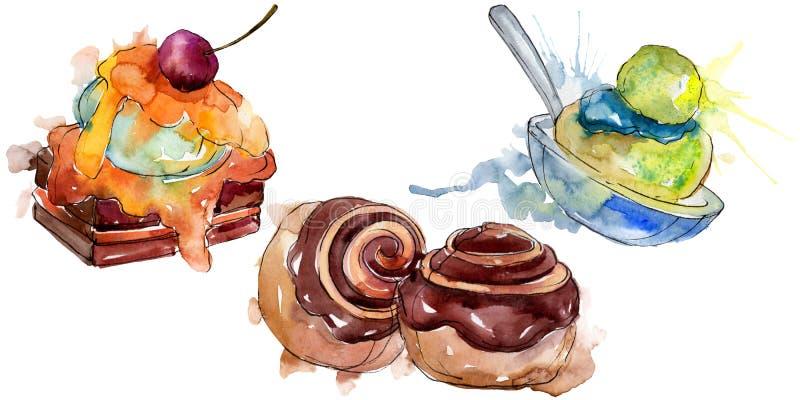 Tasty cake and bun sweet dessert. Watercolor background illustration set. Isolated desserts illustration element. Tasty cake and bun sweet dessert. Watercolor vector illustration