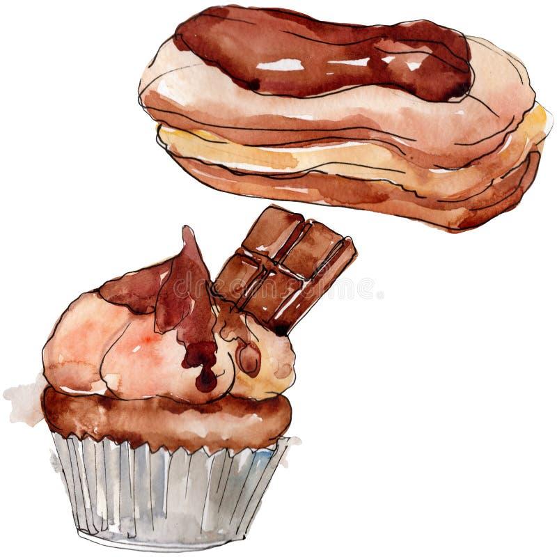Tasty cake and bun sweet dessert. Watercolor background set. Isolated desserts illustration element. Tasty cake and bun sweet dessert. Watercolor background vector illustration