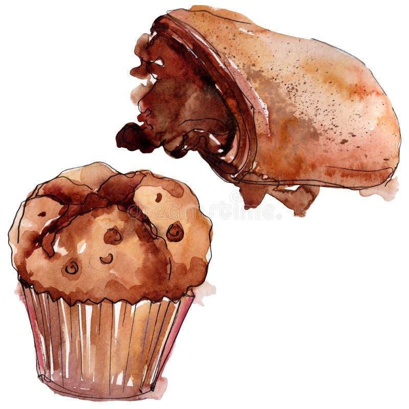Tasty cake and bun sweet dessert. Watercolor background set. Isolated desserts illustration element. Tasty cake and bun sweet dessert. Watercolor background royalty free illustration