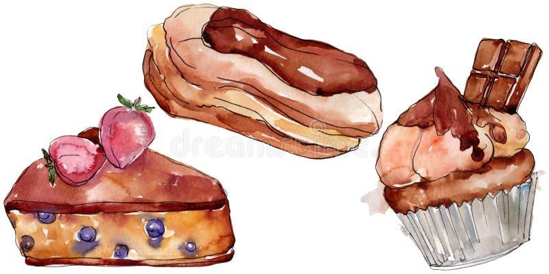 Tasty cake and bun sweet dessert. Watercolor background set. Isolated desserts illustration element. Tasty cake and bun sweet dessert. Watercolor background stock illustration