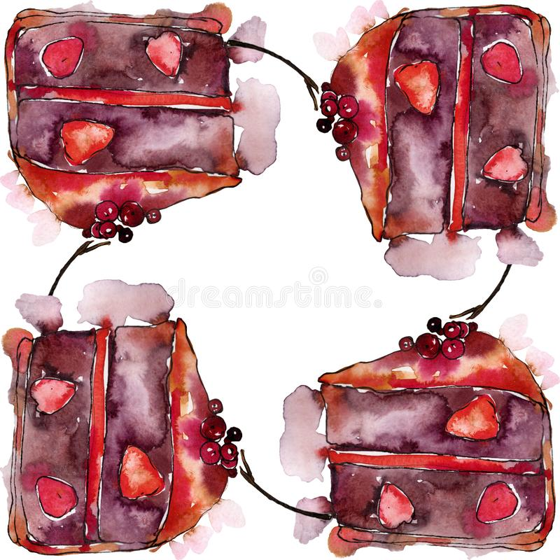 Tasty cake and bun in a watercolor style food. Watercolour backgriund illustration set. Frame border ornament square. Tasty cake and bun in a watercolor style vector illustration