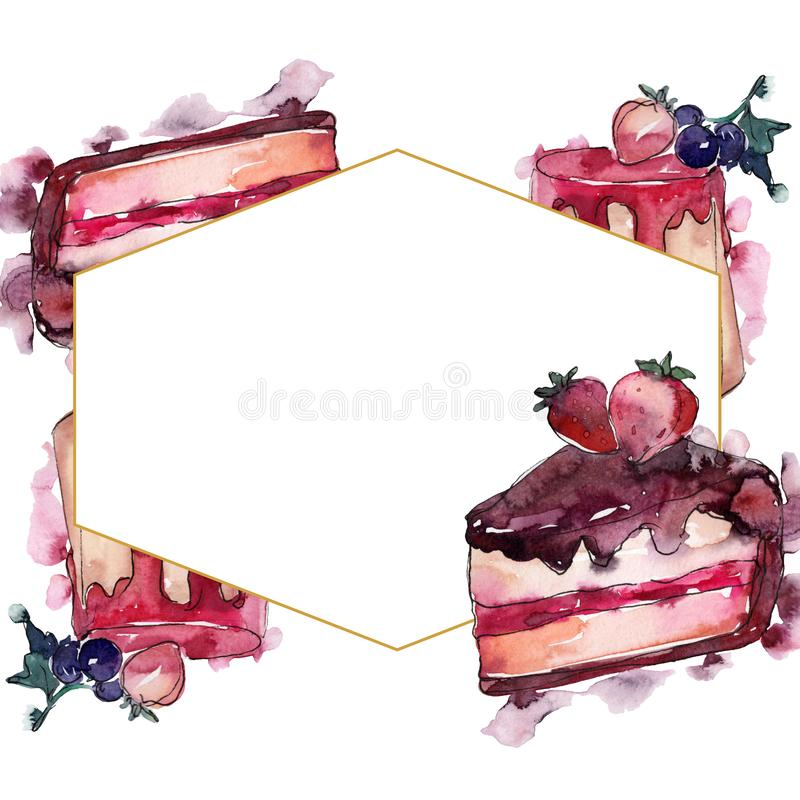 Tasty cake and bun in a watercolor style food. Watercolour backgriund illustration set. Frame border ornament square. Tasty cake and bun in a watercolor style royalty free stock photo
