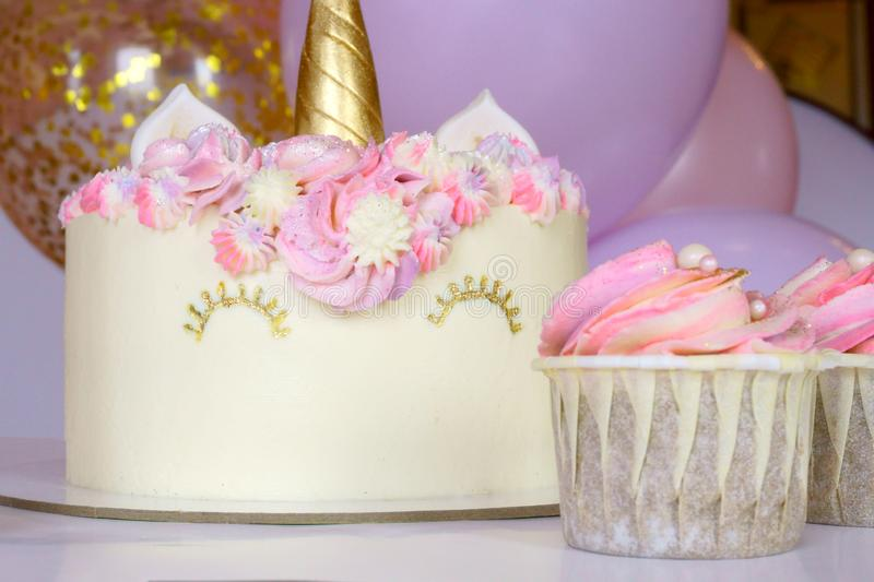 Tasty cake and cupcakes for kids, birthday. Tasty and healthy cake and cupcakes for kids, birthday stock photo