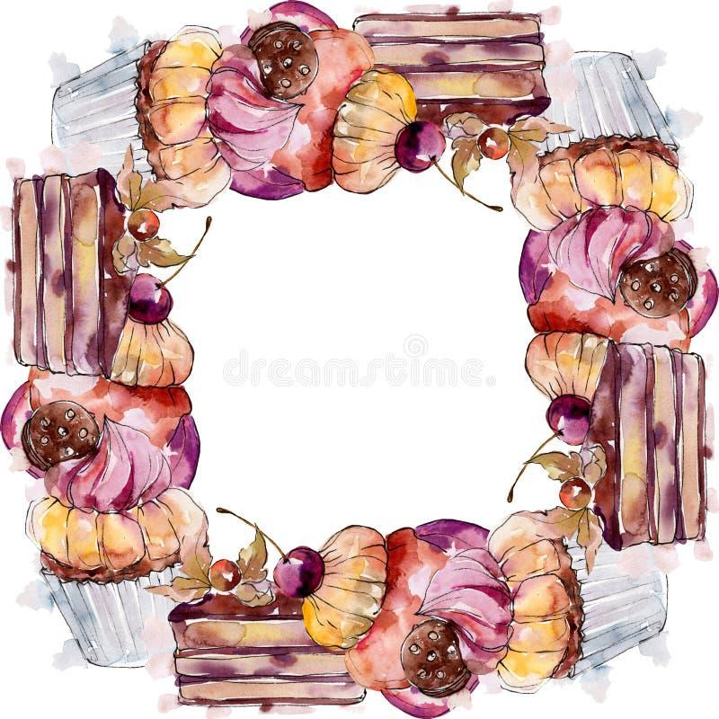 Tasty cake and dessert sweet food. Watercolour backgriund illustration set. Frame border ornament square. Tasty cake and dessert in a watercolor style food vector illustration