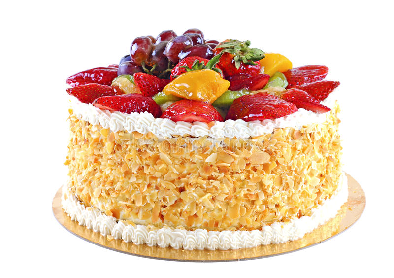 Tasty cake with fruits, isolated on white background royalty free stock photos