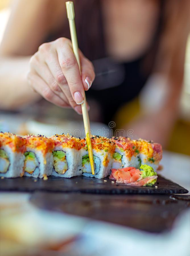 Tasty california roll royalty free stock images