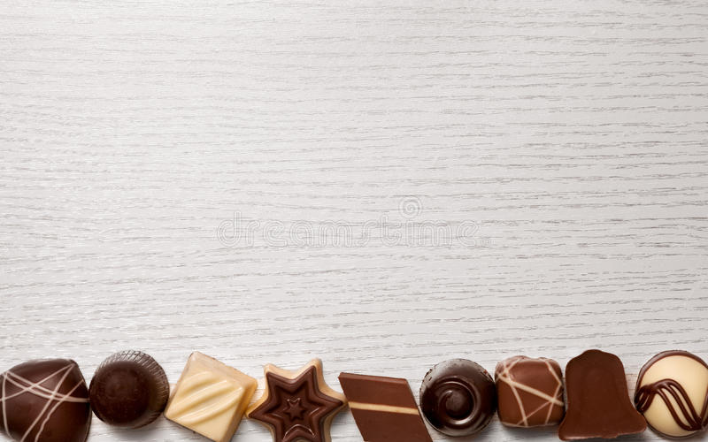Tasty candy chocolate pralines stock images