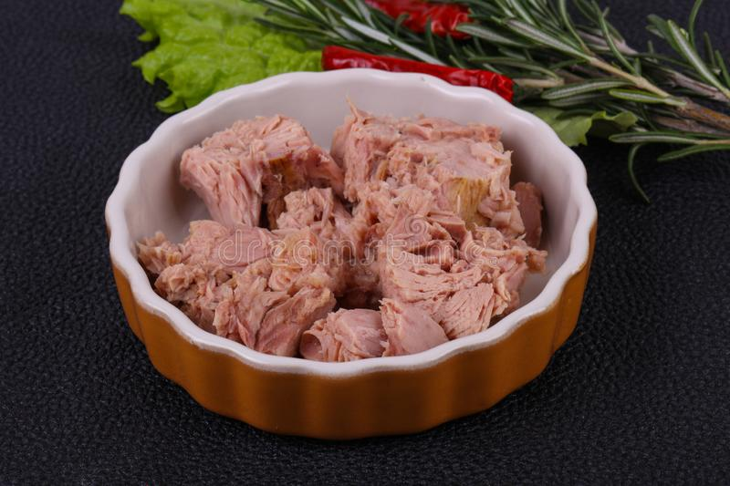 Tasty canned tuna fish in the bowl stock images