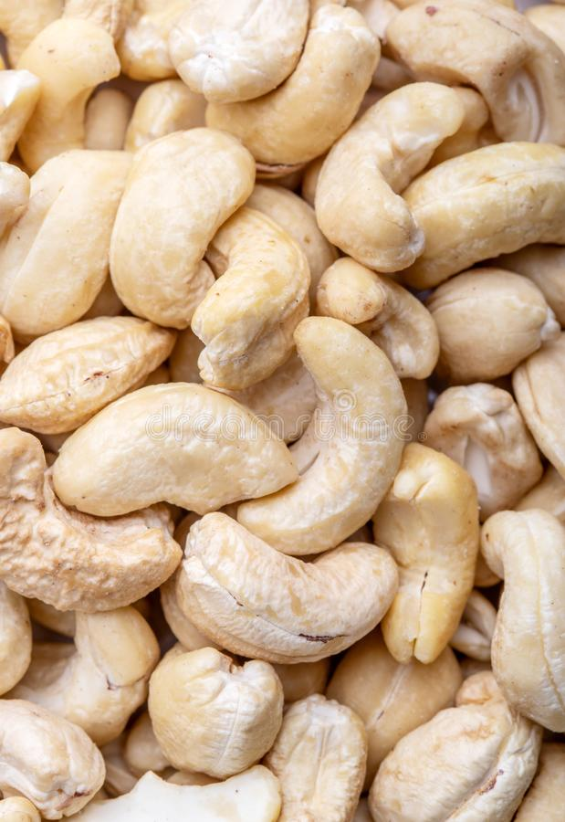 Tasty cashew nuts as background, top view royalty free stock photo