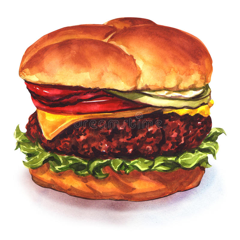 Tasty cheeseburger royalty free illustration