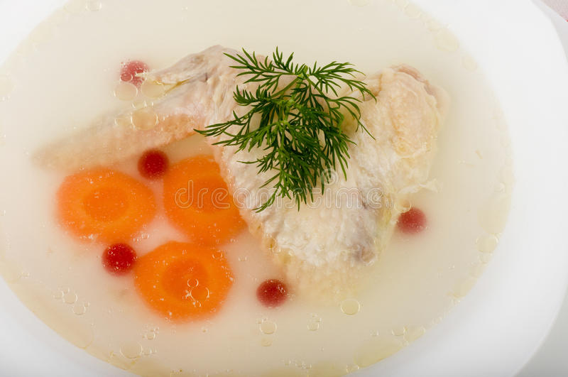 Download Tasty Chicken Clear Soup With Hen Wing Stock Photo - Image: 23722628