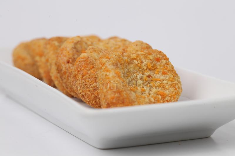 Tasty Chicken nuggets. Chicken nuggets isolated on white background royalty free stock photos