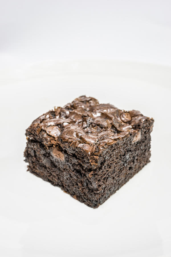 Tasty Chocolate Brownies on White Background stock photo