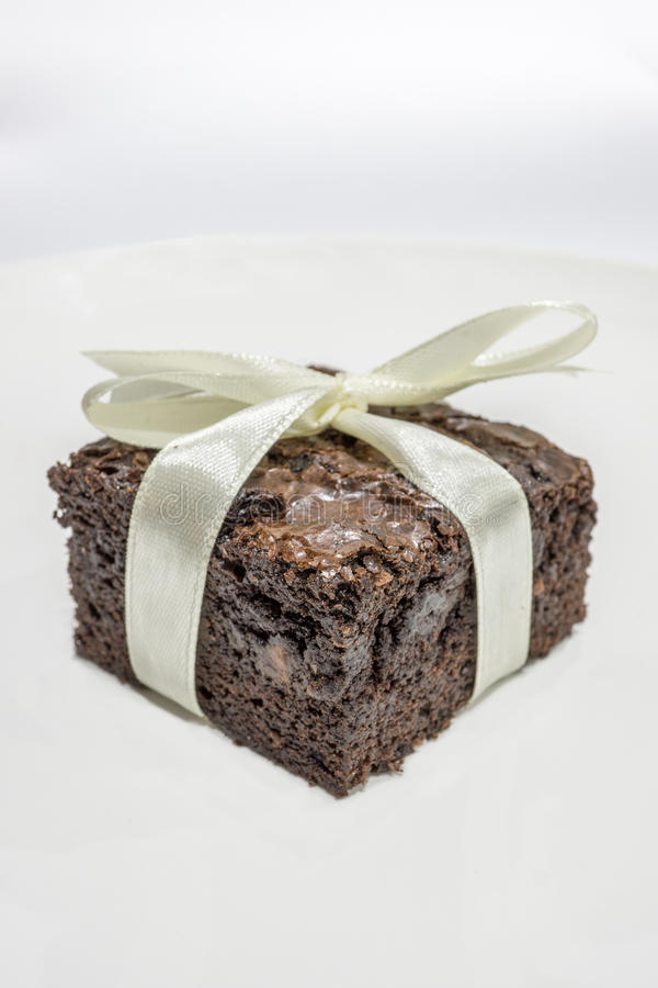 Tasty Chocolate Brownies on White Background stock photography
