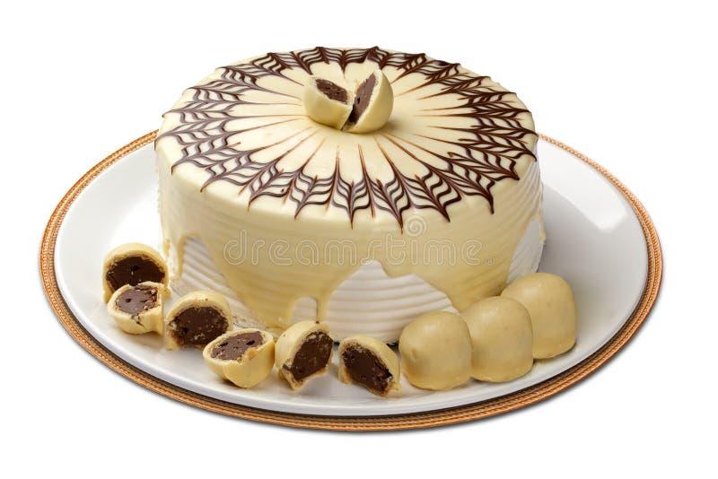 Tasty chocolate cake isolated on white.  stock photo