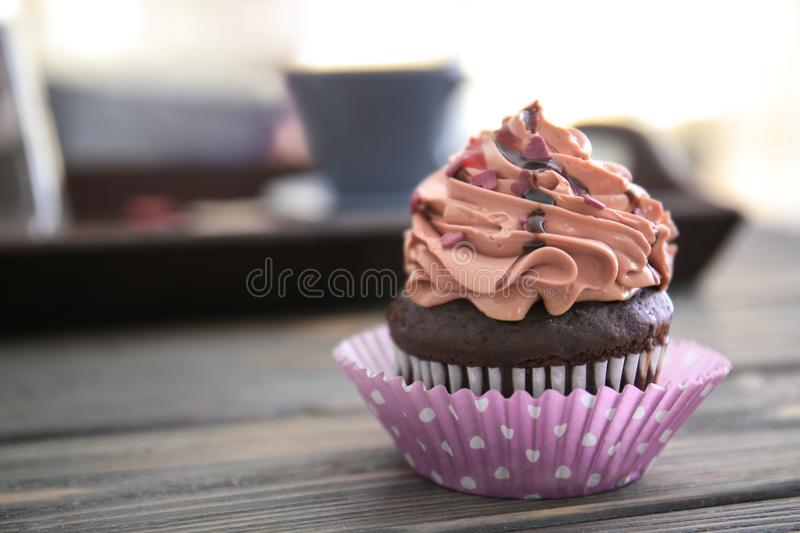 Tasty chocolate cupcake for Valentine`s Day royalty free stock image