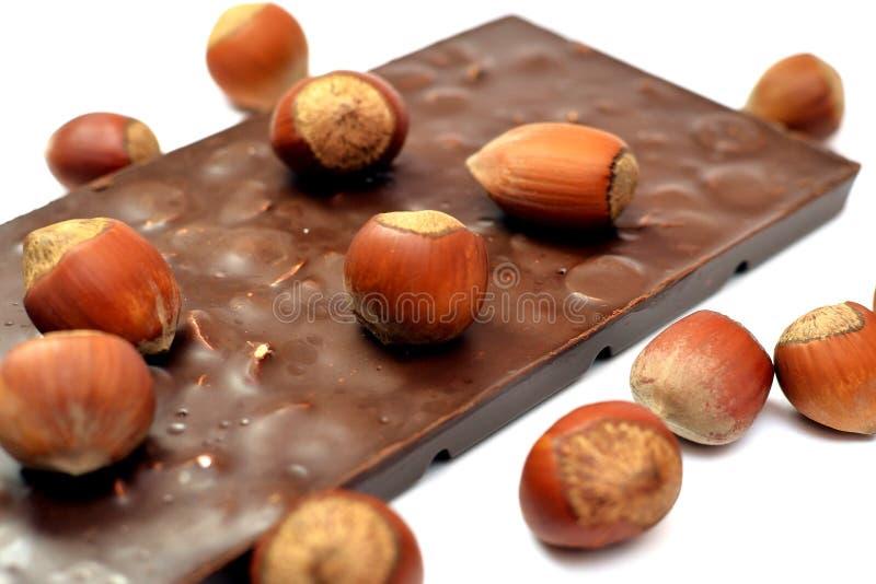 Tasty chocolate with hazelnuts stock photo