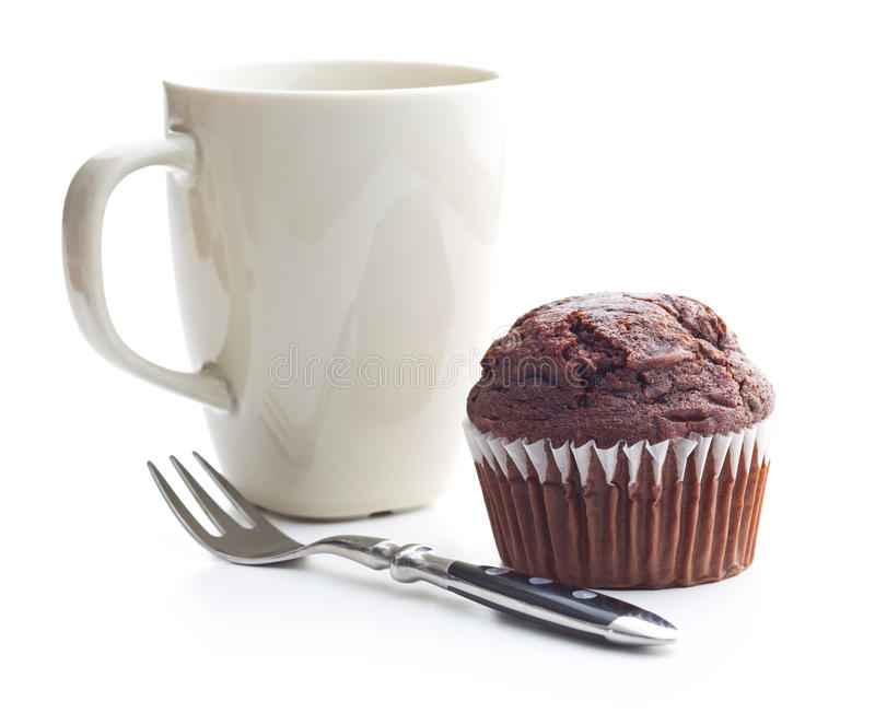 The tasty chocolate muffin. stock photography