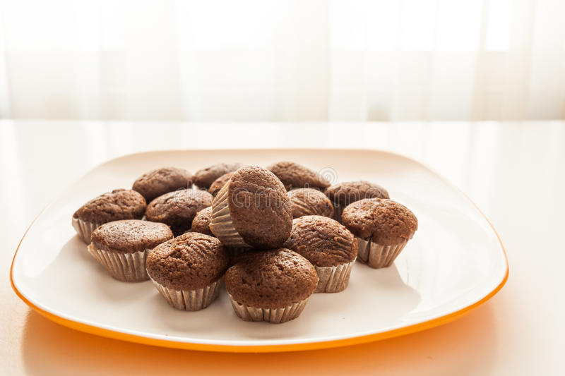 Tasty chocolate muffins in a white plate. Tasty muffins in the plate on the table near to window with natural sun light stock photos
