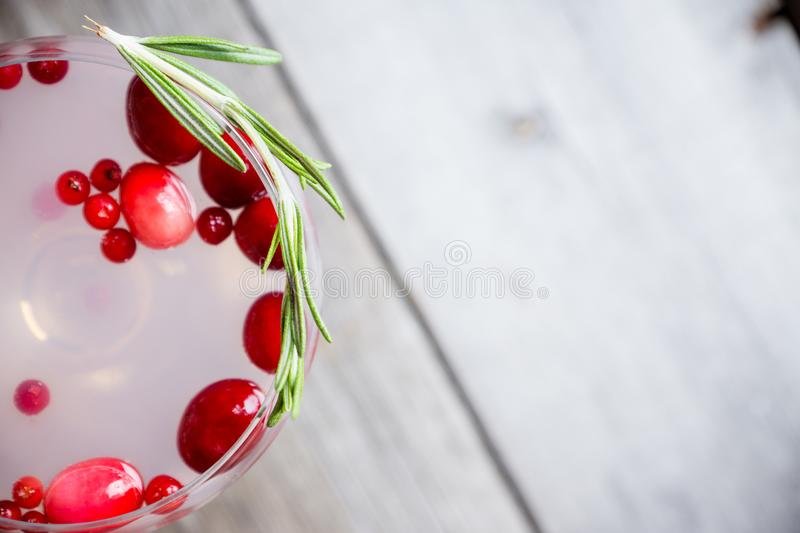 Tasty christmas cocktail with cranberry and foxberry stock images