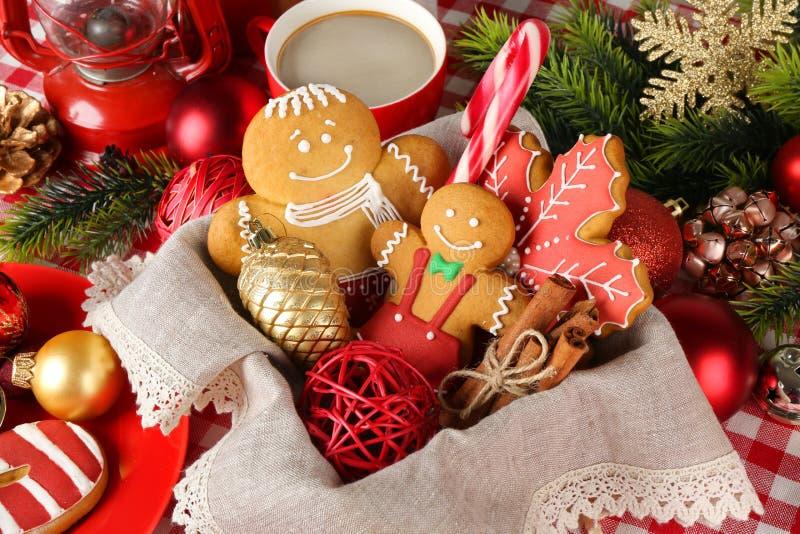 Tasty Christmas cookies in basket, stock photo
