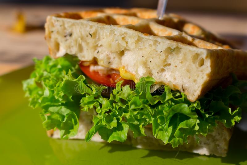 Tasty club sandwich with white waffle bread, tomato, onion, salad on green plate outdoor. Fast snack, street food, fastfood stock image