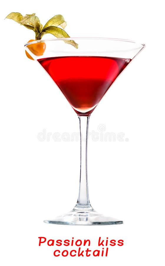 Tasty cold Passion Kiss cocktail in a cocktail glass. Isolated stock photos